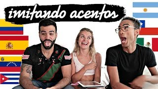 Imitando VUESTROS acentos en ESPAÑOL Y LATINOAMERICA con Pollito Tropical y Kabeto | Marina Yers