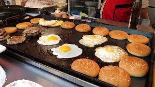 korean fried egg cheese burger 3,500KRW / korean street food