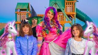 Princess Lollipop gives Kate & Lilly MAGIC Unicorns!
