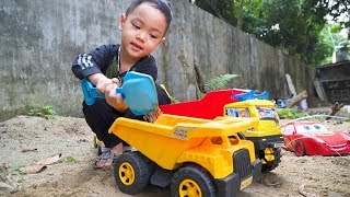 Sand Truck, Dump Truck Construction Vehicles Toy for kids with Johny Johny Yes Papa Fruits Song