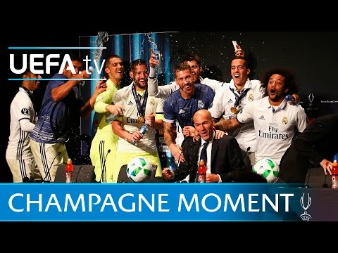Zidane gets drenched by Real Madrid players