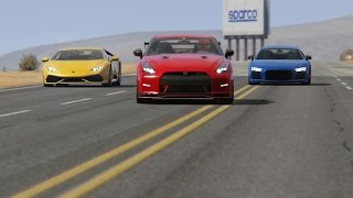 Battle Nissan GT-R R35 vs Honda NSX vs Lamborghini Huracan vs Audi R8 V10 at Black Cat Country
