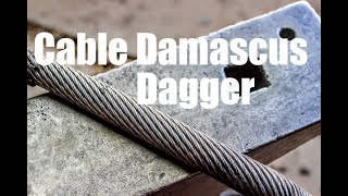 FORGING Damascus From STEEL CABLE: Primitive Dagger, Boot/Neck Knife, Bladesmithing And Knifemaking