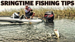 How to fish in the spring for BIG BASS. Instructional bass fishing tips