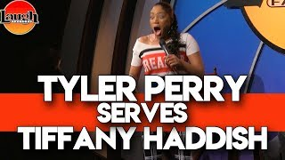 Tyler Perry Serves Tiffany Haddish at Laugh Factory