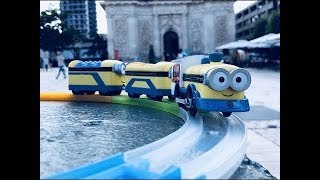 Tomy Plarail Despicable Me Minions Talking Train visit place Charles III, Nancy, France
