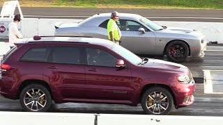 As fast as Hellcat ?? 2018 Jeep Trackhawk vs Hellcat Challenger - drag race