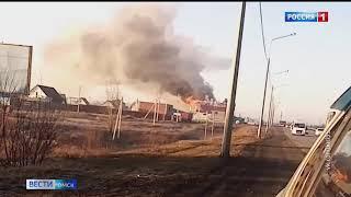 В посёлке Новоомском почти полностью сгорела станция техобслуживания