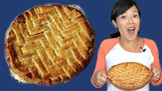 The Most Delicious Strawberry Rhubarb Pie & Herringbone Lattice - My FAVORITE Pie Recipe