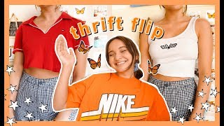 THRIFT FLIP AND TRY ON HAUL| diy brandy melville and urban outfitters clothing :)