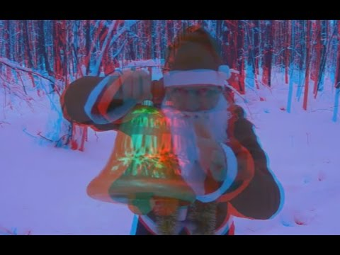 3D video ! Merry Christmas 2017 ! Santa Claus in a winter forest!