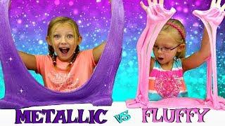 METALLIC Slime vs FLUFFY Slime Challenge!!! DIY Viral Slimes Tested!!!