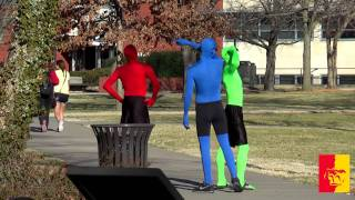 'Wondering why three guys have been dressed in RED and GREEN and BLUE clothes on campus??