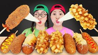 Hot Dog Mukbang Mozzarella Corn Dogs 핫도그 먹방 DONA 도나