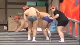 Funny Japanese's Game with soap stairs!