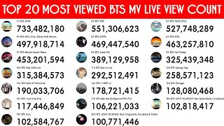 TOP 20 MOST VIEWED BTS MV - LIVE VIEW COUNT