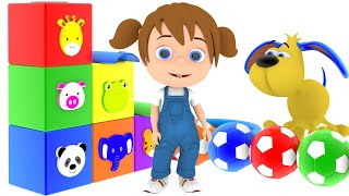 Little Baby Learn Colors with Surprise Toys Soccer Balls for Kids | Colors Kids Songs Nursery Rh...