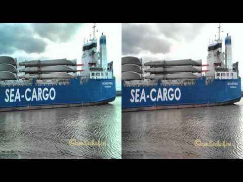 3d stereoscopic inbound seaship Hafen Emden Port einlaufendes Seeschiff sbs RS ASTREA