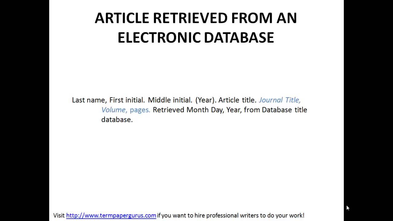 Apa Format Citing Sources College Paper Sample