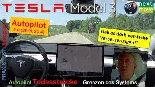 Tesla Model 3 weiß: Autopilot Todesstrecke mit V.9.0 (2019.24.4)   Praxistest