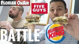 BATTLE: BURGER KING (Long Chili Cheese) vs FIVE GUYS -  VLOG #536