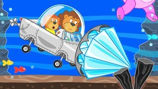Lion Family Journey to the Center of the Earth - Underwater Trip Cartoon for Kids