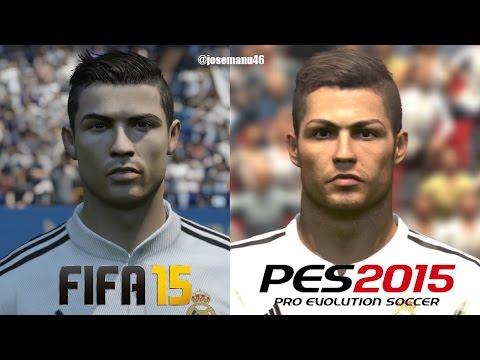 FIFA 15 vs PES 2015 REAL MADRID Face Comparison (Ronaldo, Bale, Rodriguez)
