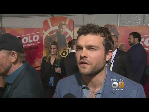 Stars Arrive For 'Solo' Premiere As Millenium Falcon Sits On Hollywood Boulevard.