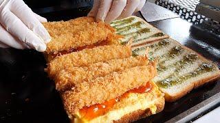통새우 토스트 / egg fried shrimp toast / korean street food