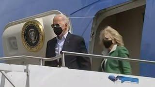 President Joe Biden and First Lady Dr. Jill Biden arrive in Houston at Ellington Field