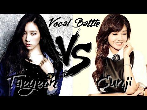 Taeyeon (SNSD) VS Eunji (Apink) - Vocal Battle (C5 - G5 )