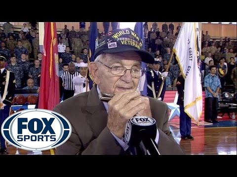 WW2 veteran wows crowd as he delivers national anthem on harmonica