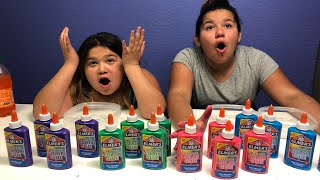 NEW ELMER'S WASHABLE COLOR GLUE - MAKING FOUR GIANT SLIMES