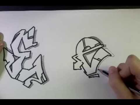 """How to draw Graffiti Letter """"E"""" on paper - YouTube"""