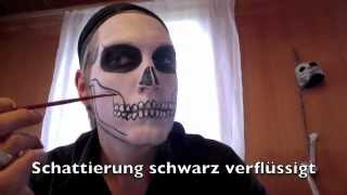 halloween totenkopf make up in 15 min einen totenkopf schminken. Black Bedroom Furniture Sets. Home Design Ideas
