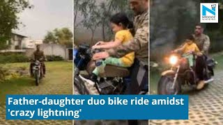 Ziva enjoys bike ride with dad Dhoni at Ranchi farmhouse..