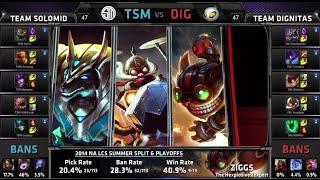 TSM vs Dignitas Game 1 | Quarter Finals NA LCS Summer 2014 Playoffs | TSM vs DIG S4 Worlds Regionals