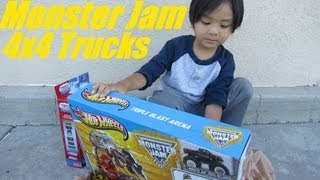 Unboxing Monster Jam's Triple Blast Arena Set! Family Toy Channel Hulyan and Maya!