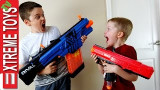 Nerf Blaster Battle! Ethan and Cole Attack and Set Traps with Nerf Rival Blasters
