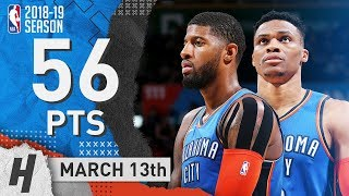 Russell Westbrook & Paul George Highlights Thunder vs Nets 2019.03.13 - 56 Pts Combined!