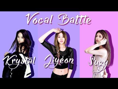 Krystal [F(x)] VS Jiyeon [T-ara] VS Suzy [Miss A] - Visual Vocal Battle (C5 - E5 )