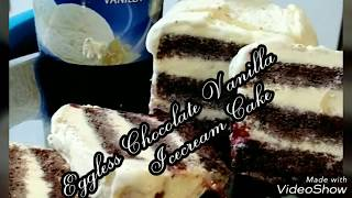 Learn Eggless Chocolate Vanilla Icecream Cake