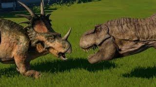 Tyrannosaurus vs Triceratops, Torosaurus, Styracosaurus, Pentaceratops & Chasmosaurus (1080p 60FPS)
