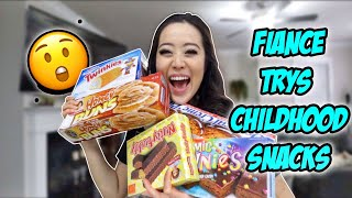 Fiance's First Time Trying My Childhood Snacks!!