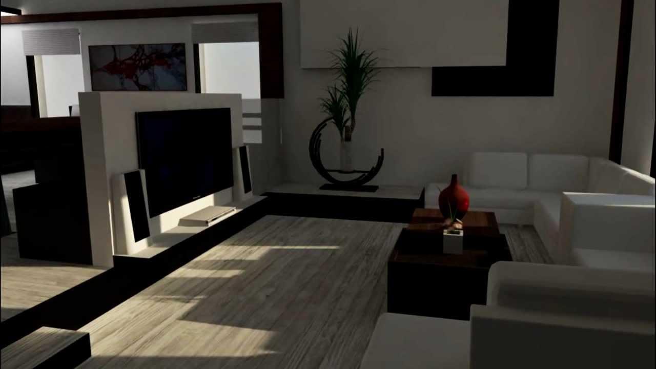 design interieur maison unifamilial rendu photorealiste projet etudiant youtube. Black Bedroom Furniture Sets. Home Design Ideas