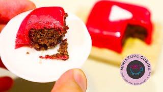 Mini Food: Youtube Play Button Chocolate Fondant Cake (Miniature cooking sound) (ASMR) (DIY)