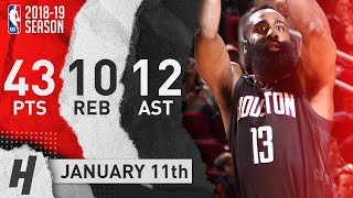 James Harden NASTY Triple-Double Highlights vs Cavaliers 2019.01.11 - 43 Pts, 12 Ast, 10 Reb!