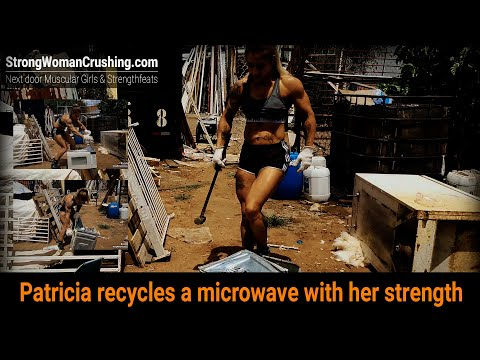 Patricia recycles a microwave with her strength