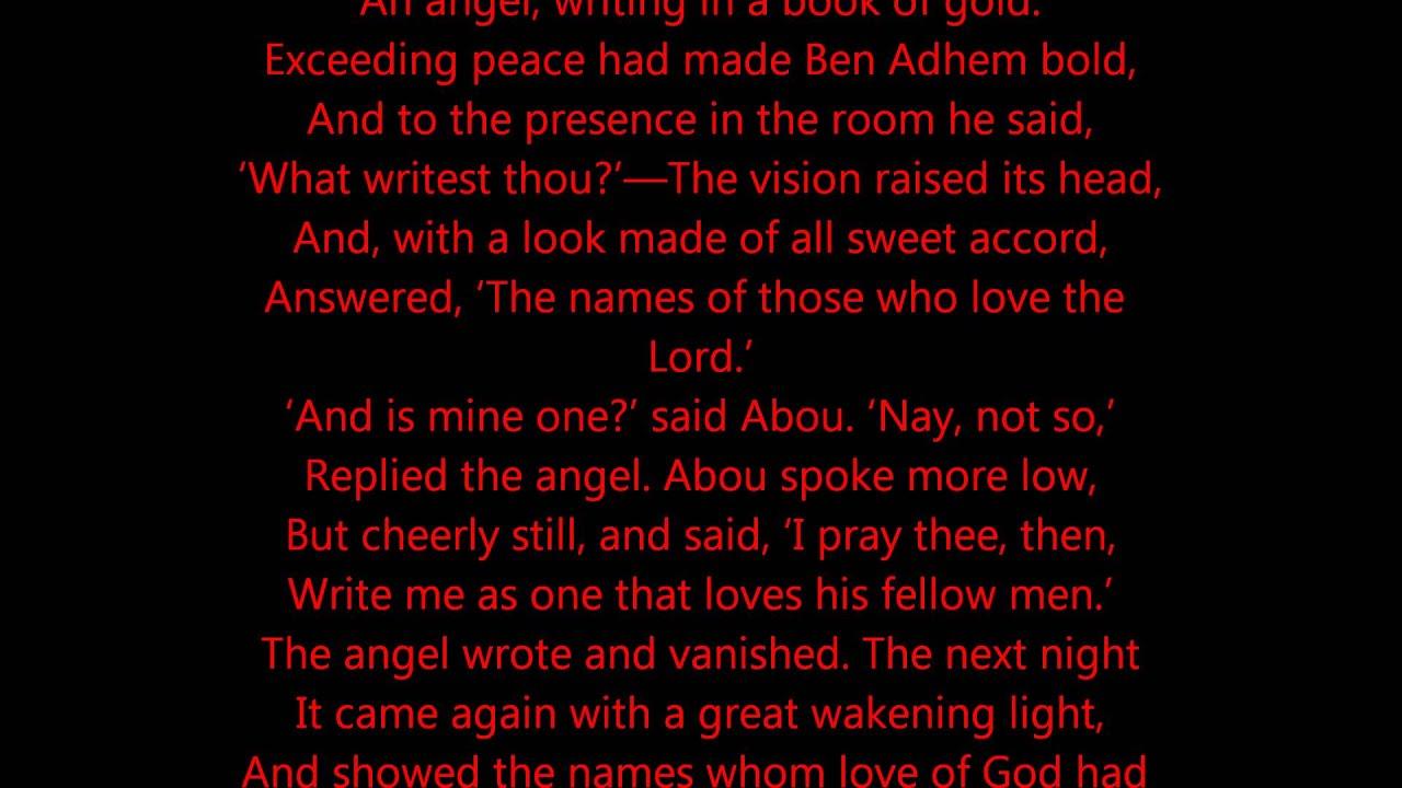 When did leigh hunt write abou ben adhem
