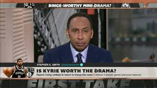 ESPN STEPHEN A.SMITH SAYS KYRIE IRVING SHOULD JUST RETIRE ITS NO POINT IN HIM PLAYING BASKETBALL!!!
